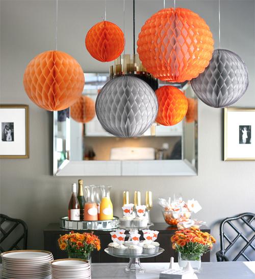 gray-white-orange-baby-shower-table