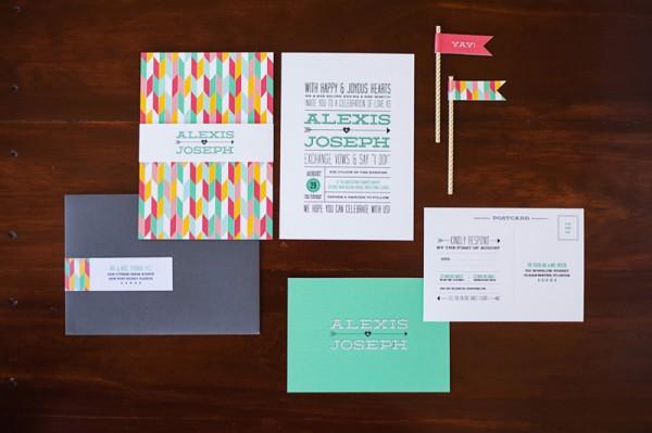 Colorful-Hearts-Arrows-Wedding-Invitations-Renee-Nicole-Design-600x399