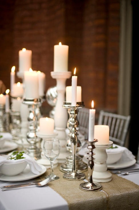 silver-candlesticks-burlap-table-runner-rustic-wedding