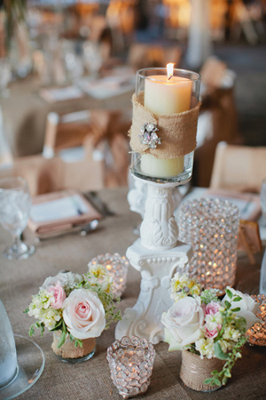 Southern-wedding-burlap-wrapped-candles